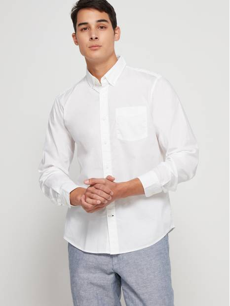 Stretch Poplin Shirt in Untucked Fit
