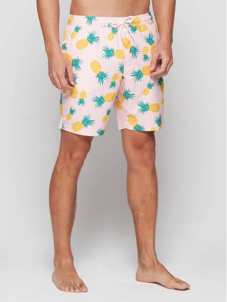 Pineapple Print Swim Trunks