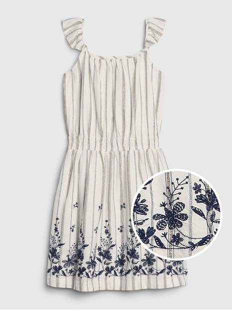 Kids Embroided Ruffle Print Dress