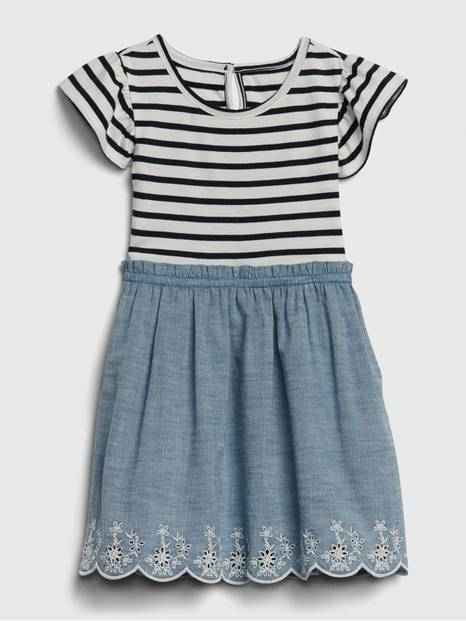 Toddler Stripe Chambray Mix-Media Dress