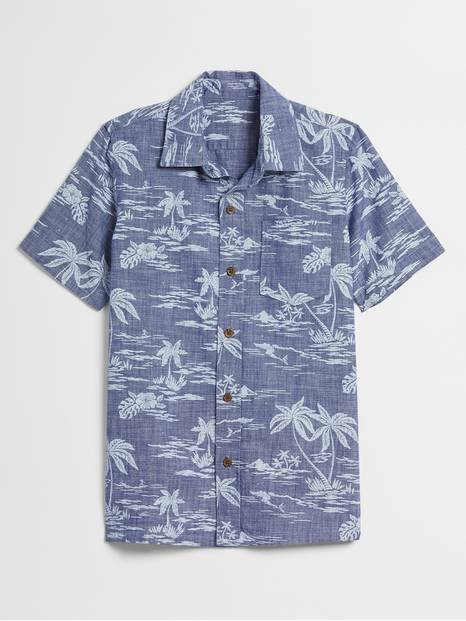Kids Print Chambray Shirt