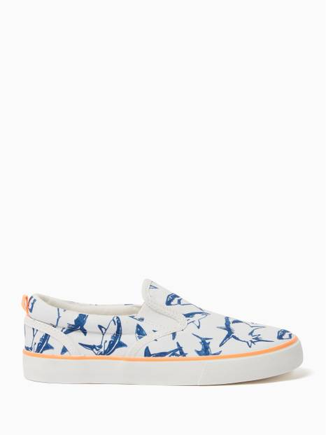 Kids Shark Print Slip-On Sneakers