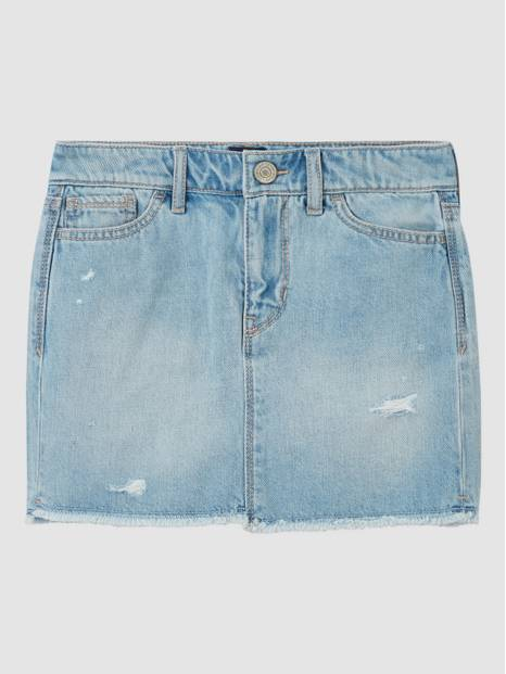 Kids Distressed Denim Skirt with Raw Hem