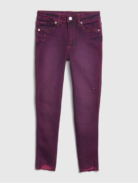 Kids High Rise Purple Jeggings