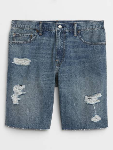 "9"" Denim Shorts with Raw Hem"