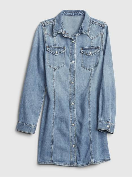 Kids Long Sleeved Denim Dress