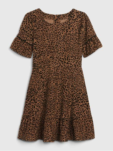 Kids Corduroy Leopard Print Dress