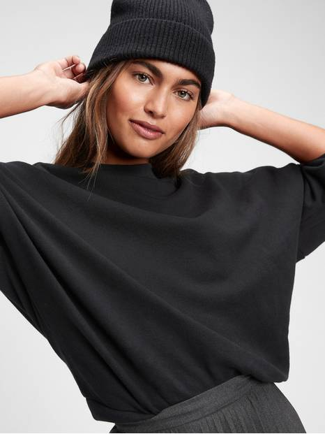 High Neck Pullover Crop Sweatshirt
