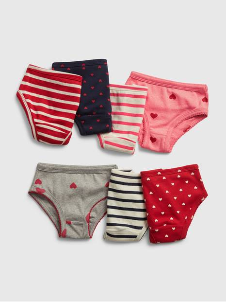 Toddler Heart and Stripe Print Briefs (7-Pack)