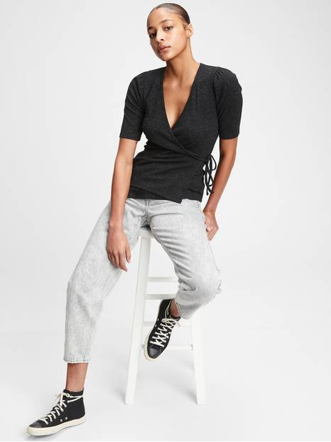 Ribbed Wrap-Front Top