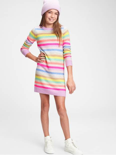 Kids Happy Stripe Sweater Dress