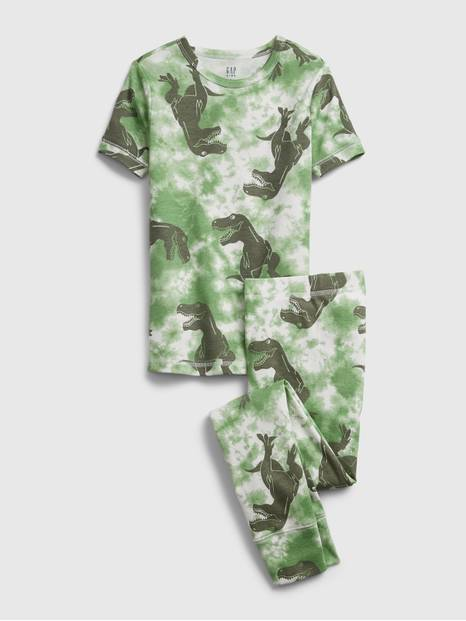 Kids Organic Tie-Dye Dinosaur Graphic PJ Set