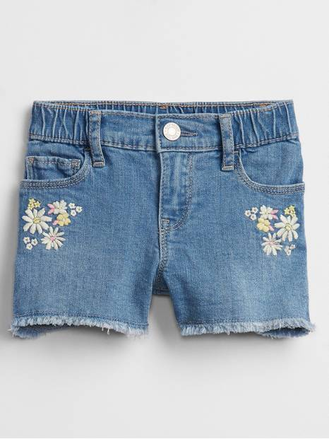 Toddler Elasticized Pull-On Floral Denim Shorts with Stretch