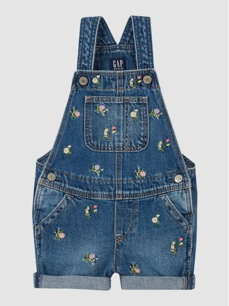 Toddler Embroidered Floral Shortall