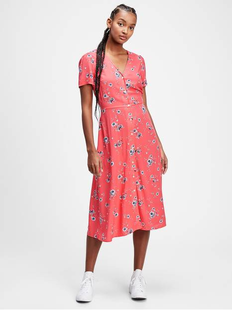 Button-Front Midi Dress