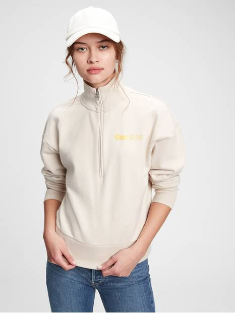 Vintage Soft Gap Logo Shrunken Half-Zip Sweatshirt