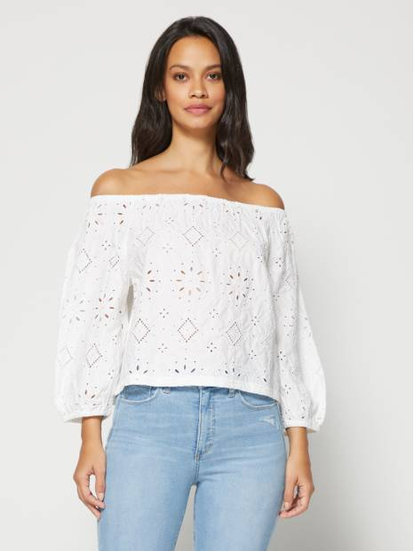 Off-Shoulder Eyelet Top